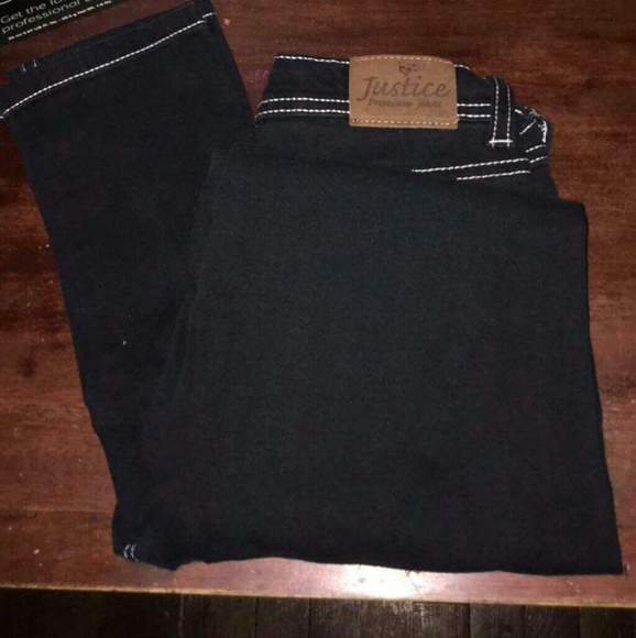 Justice Other - Black Skinny jeans with white knit outline